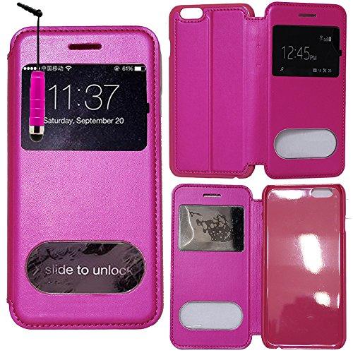 VComp-Shop® PU-Leder Schutzhülle mit Sichtfenster für Apple iPhone 6/ 6s + Großer Eingabestift - PINK PINK + Mini Eingabestift