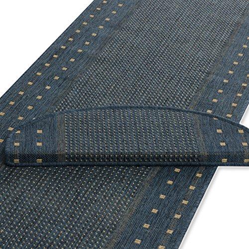 Läufer blau | Rand gepunktet | Qualitätsprodukt aus Deutschland | kombinierbar mit Stufenmatten | 3 Breiten und 27 Längen (67 x 300cm)