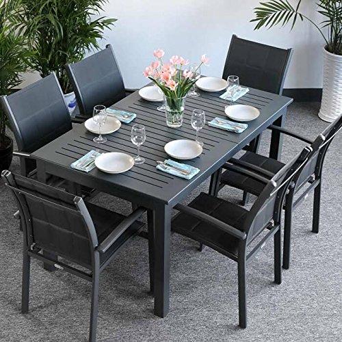 Lazy Susan Lottie Tisch & 6 Stühle - GRAU | Gartenmöbel-Set mit ausziehbarem 210cm Tisch (Lazy Susan Tisch)