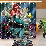 Decoración la vida marina Cartoon Mermaid sentado en las conchas para niños 71X71en tejido de poliéster resistente al moho de la cortina de ducha con traje de 15.7x23.6en franela felpudo de piso antideslizante alfombras de baño