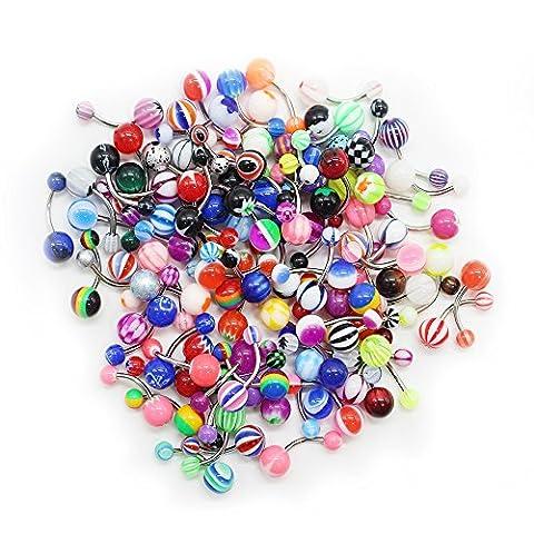 SHINEstyle 100pc 14g Mixte Nipple Tongue Anneaux Bijoux Barbells Piercing Color En Acier