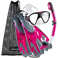 Phantom Aquatics–Navigator Aleta De Máscara Snorkel Set, Pink Graphite