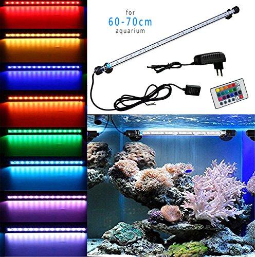 BELLALICHT Aquarium LED Beleuchtung, 57cm Aquarium Beleuchtung Lamp LED Leuchte Fisch Tank Wasserdicht 16 Farb RGB Aquariumleuchte Unterwasser