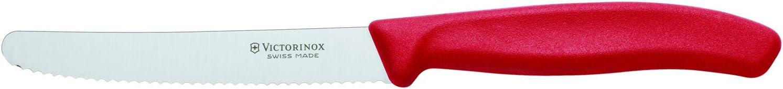 Victorinox Classic Round Tip Wavy Tomato Knife, 11 cm, Red