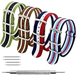MEGALITH Bracelet de Montre 4 Paquet Bracelet NATO 16mm 18mm 20mm 22mm 24mm Bandes en Nylon Balistique Suisse Zulu Bracelet avec Boucle en Acier Inoxydable