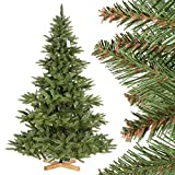 FairyTrees Albero di Natale artificiale ABETE NORDMANN, tronco verde, materiale PVC, incl. supporto in legno, 220cm