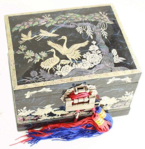 Boîte à bijoux musicale, fait à la main, mère de perle cadeau oriental. Bleu marine rouge Pin Arbre et grue