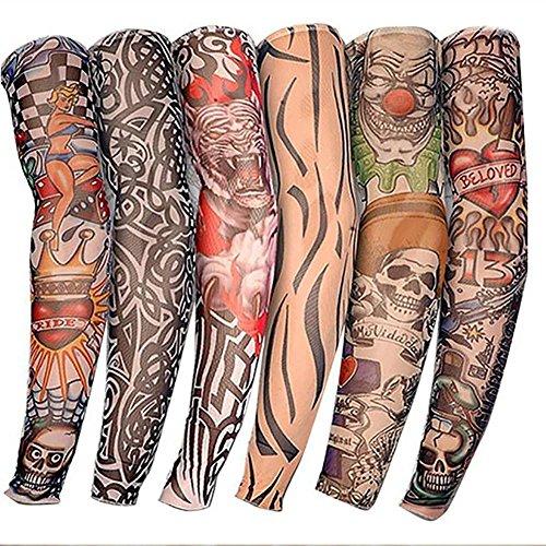 6PCS UV falsche Tattoo Arm halbe Ärmel Outdoor Handschuh-Tattoo Ärmel Neuheit Rock temporäre Tattoo Arm halbe Ärmel 38cm (Sechs Halbe Manga)