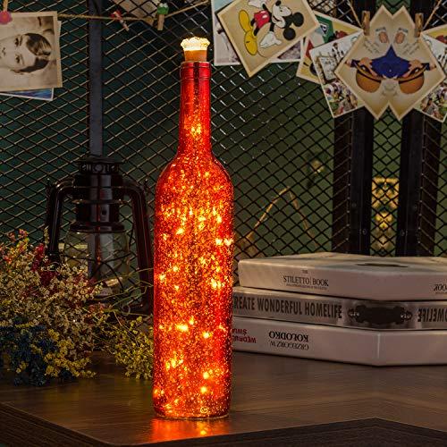 Flaschen-Licht, HUAFA Weinflaschen Lichter (Rot Flasche), Angetrieben von 3 Stück LR44 Batterie (inbegriffen).