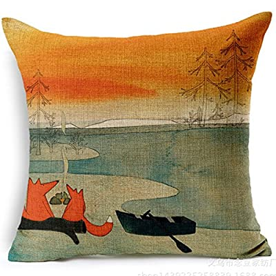 "Fox Boating Cartoon Style Handmade Cotton Linen Sofa Decor Throw Pillow Covers Pillowcase Sham Decor Cushion Cover Slipcovers Square 18 Inch 18"" Only Cover No Insert - inexpensive UK cushion shop."