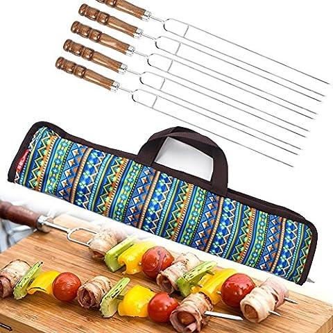 Lugii Cube 5pcs Ensemble de fourchettes 42cm Accessoires de Barbecue BBQ Bâtons avec poignée en bois en forme de U Fourchette pour barbecue