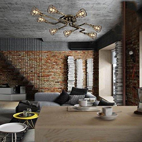 BAYCHEER Deckleuchte Industrielampe 6 Lampenfassung 65cm Retro Kupfer Semi Flush Deckenlampe Kronleuchte Pendellampe (8 Lampen) - 5
