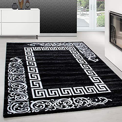 Teppiche modern Design Rechteckig Kurzflor Versace Muster mit Barock Schwarz, Maße:160 cm x 230 cm