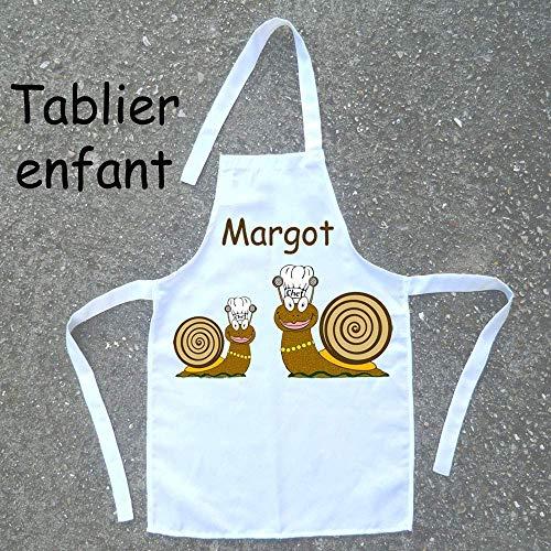Tablier de cuisine enfant Escargot à personnaliser avec un Prénom (ex. Margot)