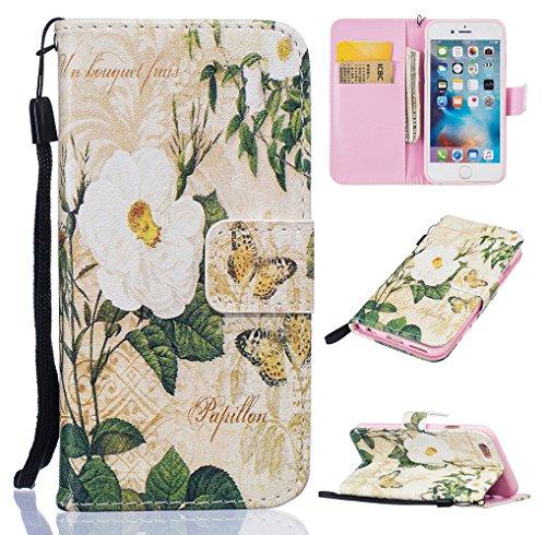 Yidaxing Custodia iPhone 7 PLUS, Custodia a portafoglio in PU Pelle Bookstyle Flip Wallet Case Cover Liscio Leggero con Funzione di Supporto e Chiusura Magnetica e Fessura per Carta, Non toccare il mi Fiore bianco