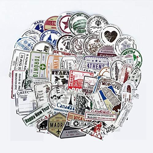 YLGG Visa Poststempel Siegel Stempel Land Stadt Form Aufkleber Für Pad Telefon Fall Auto Skateboard Helm Fahrrad Koffer Spielzeug 70 Stücke