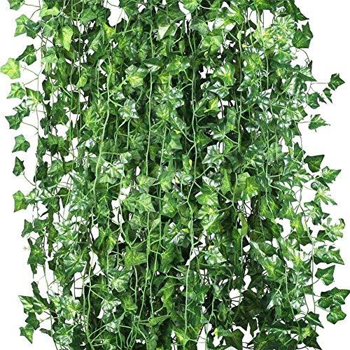 LUOKI Heißer 12 x künstliche Pflanzen von reben falsche Blumen efeu hängen Girlande für die hochzeitsgesellschaft Home bar Garten Wand decoratio (Color : ()