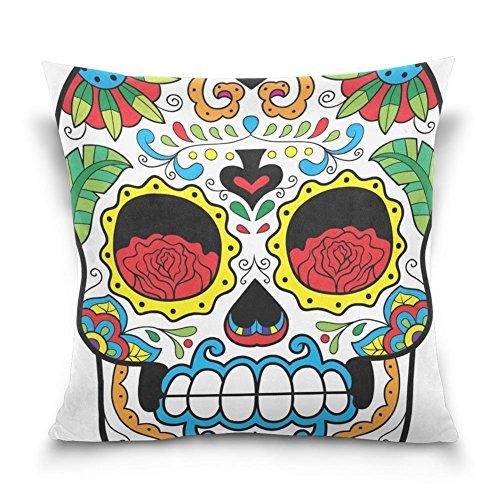 suabo Sugar Skull mit Vogel Muster Baumwolle Samt dekorativer Überwurf-Kissenbezug 40,6x 40,6cm, 50 % Baumwolle, 50 % Polyester, design 2, 45,7 x 45,7 cm