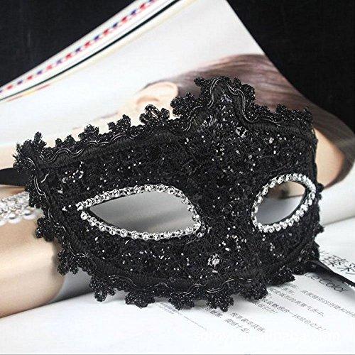 ade-Maske mit Spitze Kostüm Zubehör Schwarz (Leder Gesicht Kostüm)