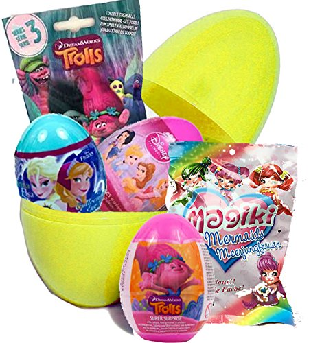Uovo gigante con sorpresa, personaggi disney, trolls, frozen, principesse disney, sirenette magiki