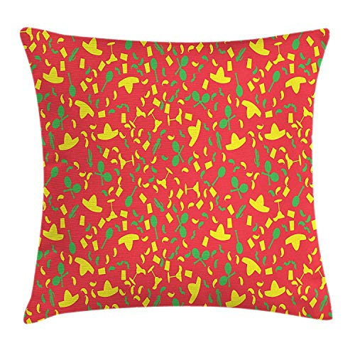 WYICPLO Cinco De Mayo Throw Pillow Cushion Cover, Pattern with Maracas Sombrero and Chili Pepper Silhouettes, Decorative Square Accent Pillow Case, 18 X 18 inches, Yellow Lime Green Dark Coral