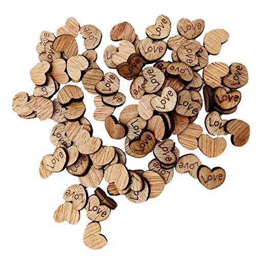 Unfertigen Holz-stücke (MagiDeal 100 Stück Herz Holz Scheiben Birke DIY Handwerk Verzierungen 12x15mm - Farbe1)