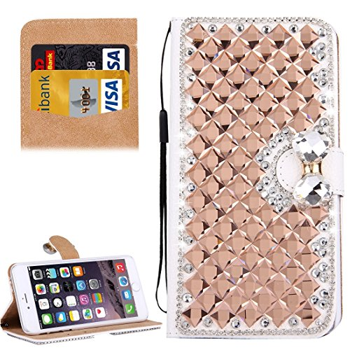 Wkae Case & Cover Pour Flip Case en cuir iPhone 6 Plus &6s plus diamant Encrusted bowknot Motif horizontal avec boucle et carte magnétique Slots &Support &Longe ( Color : Rose Gold ) Rose Gold