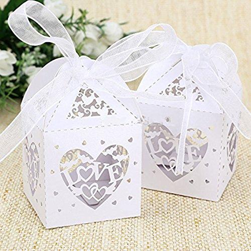 ergeschnittenes Liebe Herz zugunsten Candy Box mit Bändern Bridal Shower Hochzeit Party Favors (weiß) (Zugunsten Candy)