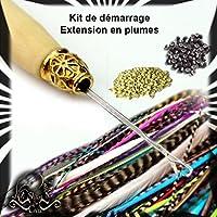 LOT - KIT de 45 extensions en plumes naturelles et colorées pour cheveux - Qualité supérieur