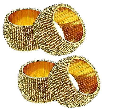 Satz von 4 - Goldenen Serviettenringe für Abendessen Parteien - Indische Handgemachte Wulstige Serviettenringe - Durchmesser 6,5