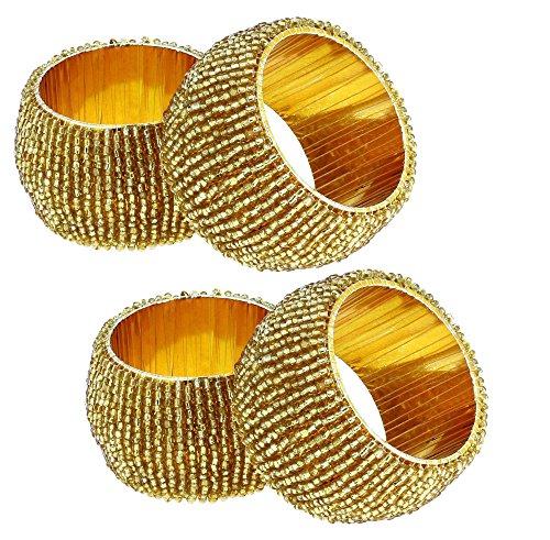 set di 4 - portatovaglioli d'oro per cene parti - fatti a mano di perline indiano Anelli di tovagliolo - dia 6.4 cm - Anello Fatto A Mano In Oro
