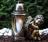 ♥ Grablaterne Grablampe Engel Herz Massiv 30,0 cm mit Grabkerze Grabschmuck Grableuchte Grablicht Laterne Kerze Licht Lampe Schutzengel