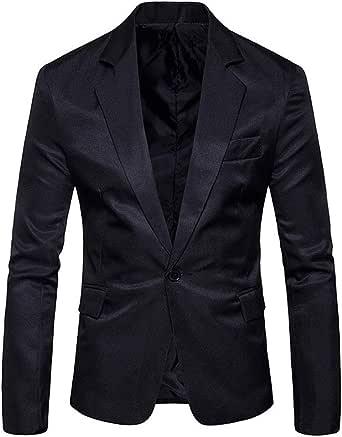 Chunmei Men's Suit Slim fit Long-Sleeved Blazer Elegant Solid Color one-Button Lapel Classic Business Leisure Comfortable Jacket Sports Jackets Men Wedding Party Formal Work Tops Coat