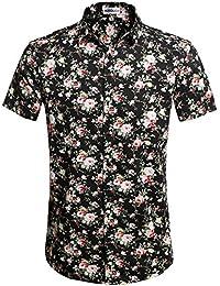 HOTOUCH Herren Hawaiihemd Hawaiishirt Urlaub Hemd Strandhemd Freizeithemd  Hawaii-Print mit Kurzarm f76ac70698