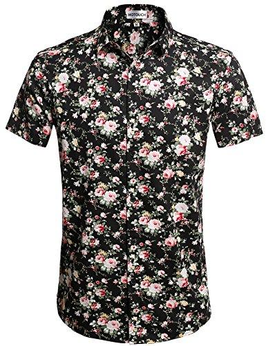 HOTOUCH Herren Hawaiihemd Hawaiishirt Urlaub Hemd Strandhemd Freizeithemd Hawaii-Print Mit Kurzarm Typ1-Schwarz Rosa