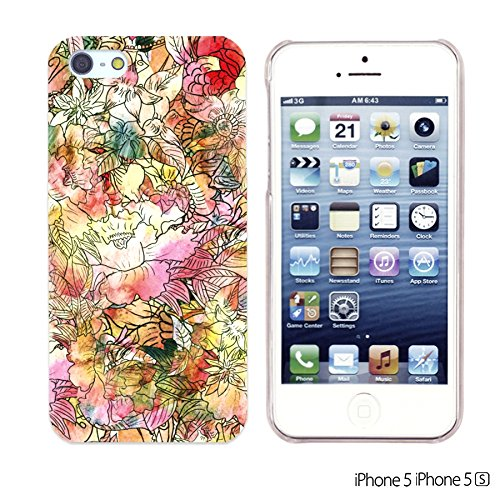 OBiDi - Flower Pattern Hardback Case / Housse pour Apple iPhone SE / Apple iPhone 5S / 5 - Colorful Flowers With Birds Colorful Watercolor Flower