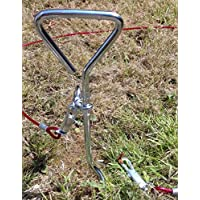 Upgrade Set of 4 Ground Anchors + Tie Down Cables,Secure Your Trampoline, Gazeebo, Marquee