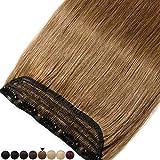 40CM(80g) Extension Cheveux Naturel a Clip Une Pièce Monobande Maxi Volume - 100% Remy Human Hair Extension Clip in - #06 Châtain clair