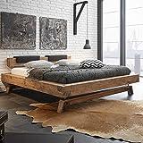 Pharao24 Designbett aus Wildeiche Massivholz Klemmkissen Ausführung 2