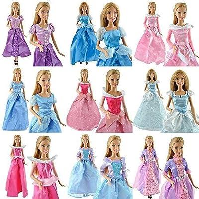 Ropa de Vestido de Bodas de 5 Piezas para Muñecas Barbie de Princesas de Disney - Hecha a Mano