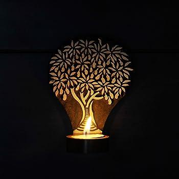 ExclusiveLane Wooden Hand Engraved Tree of Life Table Cum Wall Tea Decorative Light Holder, 10.16 cm x 10.16 cm x 12.7 cm