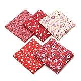 Tissus Coton 50 x 50cm Couture Quilting Fabric Patchwork Vêtements Sewing Artisanat - 5pcs (Rouge)