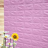 PE Foam 3D Wall Stickers Decorative Kitchen Bedroom Decor Wallpaper Children Living Room Decorative Brick Stickers (Light Purple, 70x30)
