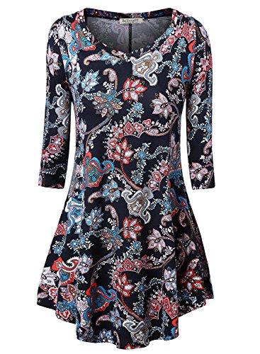 BaiShengGT Damen Blumenmuster Langarmshirt A-Linie Hem Tunika Stretch Longshirts Blau-3/4 Arm