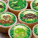 Kuchendekoration, Bilder auf Zuckerguss und Cupcake,Reptilien-Party, Tarantel, Schlange, Krokodil, 4 cm, 24 Stück