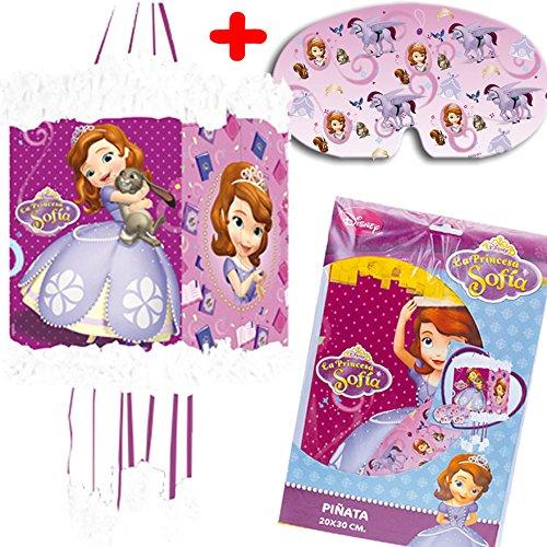 Pinata * SOFIA * - als Zugpinata für bis zu 7 Kinder - plus Maske. Wird mit Süssigkeiten oder Spielen gefüllt, ca. 28cm Durchmesser // Piñata Mexiko Kinder Geburtstag Kindergeburtstag Spiele Spass Disney