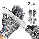 ZEERKEER 2 Paar Handschuhe Cut Resistant Gloves Level 5 EN-388 Zertifiziert Schnittschutz-Handschuhe (weißgrau, XL)