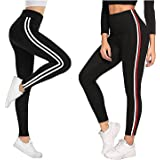 Fitg18® Gym wear Leggings Ankle Length Free Size Combo Workout Trousers | Stretchable Striped Jeggings | Yoga Track Pants for