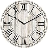 Eurographics Old Wooden Clock Wanduhr, Glas, Grau, 55 x 55 x 3.5 cm