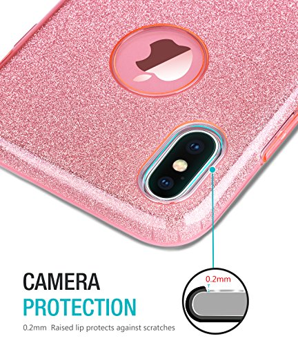 Coque iPhone X, TOZO Housse Brillant [Cristal Bling] Ultra Mince Sparkle Premium 3 Couches Hybride TPU Soft grip Protective Case Cover iPhone 10 / X [Rose Dégradé] Hybrid SHINY Pink